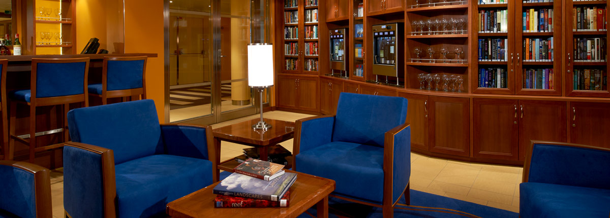 relax in the library on carnival cruises